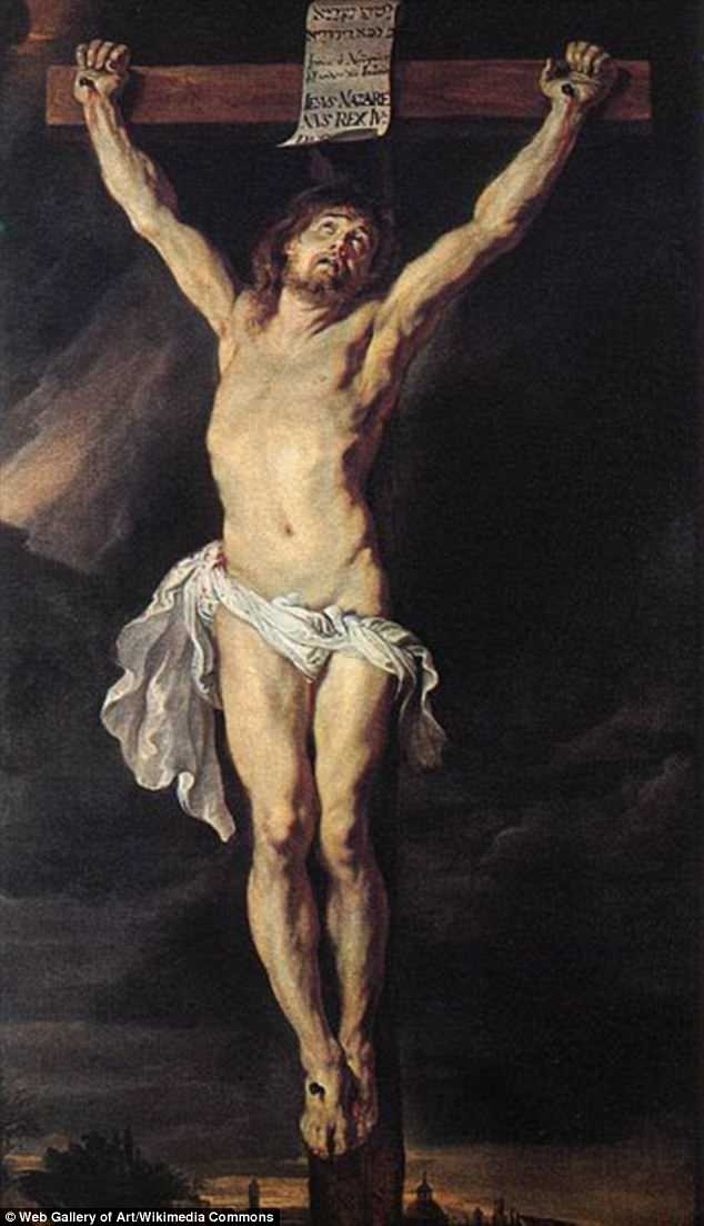 A 2,000-year-old Roman skeleton with a hole in its foot could provide proof of the type of cruel capital punishment that may have killed Jesus. Pictured is The Crucified Christ painted between 1610 and 1611 by Flemish artist Rubens